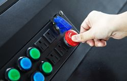 Hand put reset bottom with out savety like switch on Royalty Free Stock Image