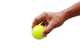 Hand put tennis ball Royalty Free Stock Photo