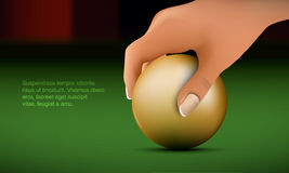 Hand puts the ball. On the billiard table royalty free illustration