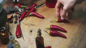 Hand puts hot pepper on a vintage table in the Studio stock video footage