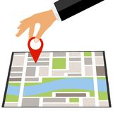 The hand puts a mark on map. Put a mark on the map. Flat design, vector illustration, vector Stock Photo