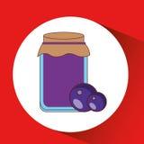 Hand puts plum jar jam Stock Photo