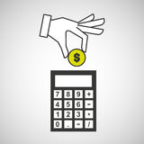 Hand putting calculator finance money Stock Image