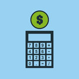Hand putting calculator finance money. Vector illustration eps 10 Royalty Free Stock Photos