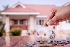 Hand putting coin into the piggy bank with home background Stock Photo