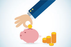 Hand putting coin in piggy bank, saving, investment and business concept. Vector and illustration Royalty Free Stock Photo