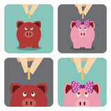 Hand putting a coin into piggy bank. (Saving money for future Royalty Free Illustration