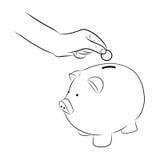 Hand putting coins/money into saving piggy bank Stock Image
