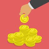 Hand putting dollar coin in stack. Profit, making money, business or finance concept. Golden coins in businessman hand. Saving money vector illustration flat Royalty Free Stock Photo