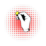 Hand putting a golden coin icon, comics style. Hand putting a golden coin icon in comics style on a white background Royalty Free Stock Image