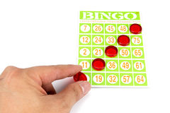 Hand putting last chip to be winner of bingo game Royalty Free Stock Photography