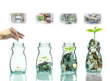 Hand putting mix coins and seed in clear bottle with step of construction house Stock Images