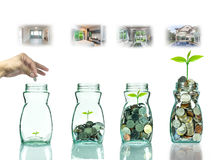 Hand putting mix coins and seed in clear bottle with step of construction house ,Business investment growth concept Royalty Free Stock Photo