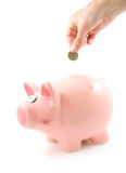 Hand is putting money into piggy bank Royalty Free Stock Images