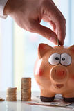 Hand putting money into piggy bank vertical composition Royalty Free Stock Photo