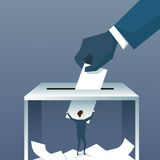 Hand Putting Paper In Ballot Box During Voting. Flat Vector Illustration Royalty Free Stock Image