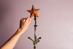 Hand putting star on christmas tree Stock Images