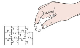 Hand with puzzle. Illustration of a hand holding a puzzle piece Stock Photography