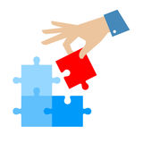 Hand and puzzle detail. Problem solution concept flat illustration. Man`s hand places last detail of puzzle in jigsaw. Vector puzzle infographic element Royalty Free Stock Photo
