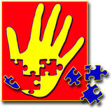 Hand Puzzle With Pieces Missing. This is an illustration of a human hand in bright yellow on red background with deep blue puzzle pieces representing the need Stock Image