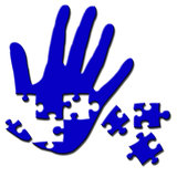 Hand Puzzle With Pieces Missing. This is an illustration of a human hand in deep blue with puzzle pieces not yet moved into place in order to represent the need Royalty Free Stock Images