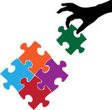 Hand and Puzzles. Illustrations of hand and puzzles is isolated on white background, created in illustrator software Stock Image