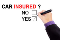 Hand with question of car insured Royalty Free Stock Photography