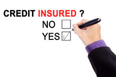 Hand with a question of credit insured Stock Photo