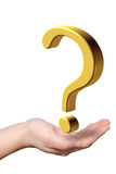Hand with question mark Stock Image