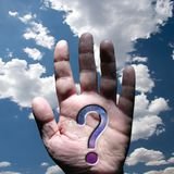 Hand with question mark royalty free stock photography