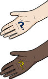 Hand with Question Mark Royalty Free Stock Images