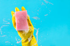 Hand with a rag cleans the surface. Cleaning concept, hand with a rag cleans the surface Stock Photos