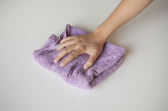 Hand and rag cloth cleaning Royalty Free Stock Photo