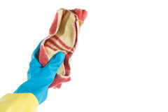 Hand with rag. Hand with glove and a cloth cleans dust Stock Photography