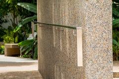Hand on railing Stock Photo