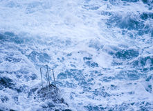 Hand-rails over a heavy sea. Royalty Free Stock Photos