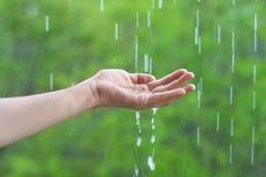 Hand and rain Royalty Free Stock Photography