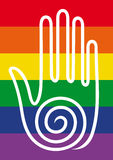 Hand on rainbow background Stock Photo