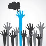 Hand raise up for cloud Stock Photos