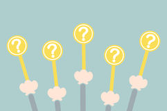 Hand raise up question mark plate Royalty Free Stock Image