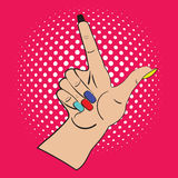 Hand with raised index finger on the bright pink background and white points in the background. Call attention and Stock Photography