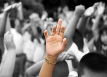 Hand raised among others hands in background Stock Image