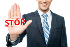 Hand raised with stop message Royalty Free Stock Photos