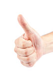 Hand with a raised thumb. Stock Photo