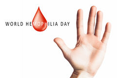 Hand raised up palm open. World hemophilia day, hand raised up palm open isolated on white background, youth solidarity concept Royalty Free Stock Images