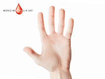 Hand raised up palm open. World hemophilia day, hand raised up palm open isolated on white background, youth solidarity concept Royalty Free Stock Photography