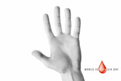 Hand raised up palm open. World hemophilia day, hand raised up palm open isolated on white background, youth solidarity concept Royalty Free Stock Photos