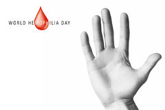 Hand raised up palm open. World hemophilia day, hand raised up palm open isolated on white background, youth solidarity concept Stock Photos