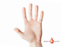 Hand raised up palm open. World hemophilia day, hand raised up palm open isolated on white background, youth solidarity concept Stock Image