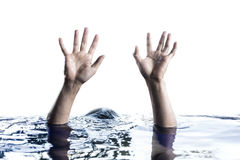 Hand raising above water Royalty Free Stock Images